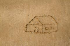 画海滩的一个房子 免版税图库摄影