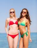 海滩的两个微笑的少妇 图库摄影