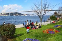 海滩的享受春天的人伊斯坦布尔海峡  免版税图库摄影