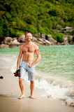 海滩的人 免版税库存图片