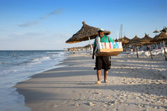 海滩的卖主 库存图片