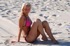 海滩的女孩 库存照片