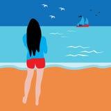 海滩的女孩 免版税库存照片