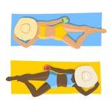 海滩的妇女 顶视图 免版税库存图片