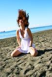 海滩的妇女 图库摄影