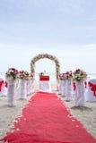 海滩的婚礼地点 免版税库存图片