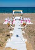 海滩的婚礼地点 库存照片