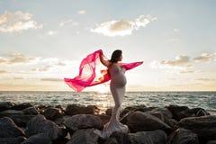 海滩的孕妇与桃红色面纱 免版税图库摄影