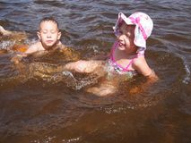 海滩的孩子 免版税库存照片