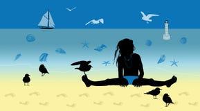 海滩的小女孩与海鸥 库存图片