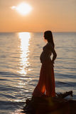 海滩的怀孕的女孩在海滩的日落 库存图片