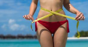 海滩的性感的妇女在有措施磁带的比基尼泳装 作为背景诱饵概念美元灰色吊异常分支 免版税图库摄影