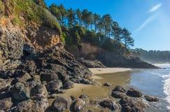 海滩的某一风景看法在Heceta头灯塔状态Sc的 图库摄影