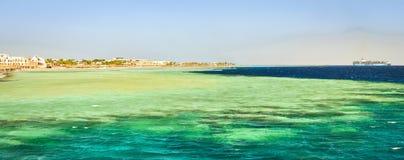 海滩的沿海旅馆,红海, Sharm El谢赫,埃及 库存图片