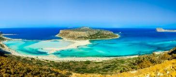海滩的热带全景图象在Balos海湾的 库存图片