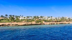 海滩的看法从海, Sharm El谢赫的 免版税库存照片