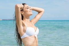 海滩的肉欲的妇女 免版税库存图片