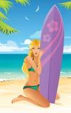 海滩的运动的冲浪者女孩 库存图片