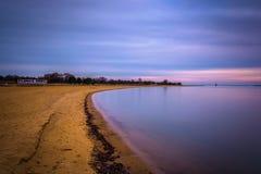 海滩的长的曝光在桑迪点国家公园,马里兰的 图库摄影