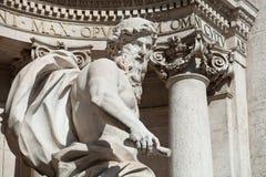海洋雕象细节在Fontana di Trevi 免版税库存照片