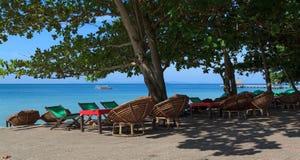 海滩的餐馆在西哈努克,柬埔寨 免版税库存照片