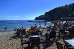 海滩的餐馆,布德瓦,黑山 图库摄影
