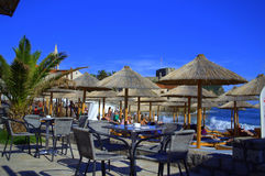 海滩的餐馆,布德瓦,黑山 库存照片