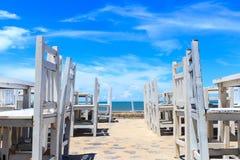海滩的餐馆 图库摄影