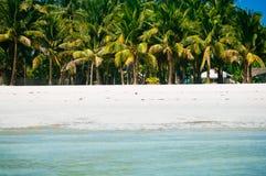 海滩睡椅、棕榈树和美丽的白色沙子在热带海岛靠岸 免版税库存照片