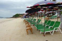 海滩睡椅和树荫 免版税库存照片