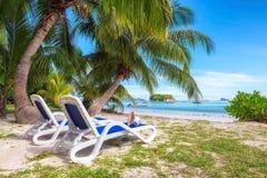 海滩睡椅在热带海滩的一棵棕榈树下在塞舌尔群岛 图库摄影