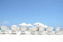 海滩睡椅浅深度的域非常 库存照片