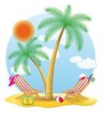 海滩睡椅站立在棕榈树传染媒介例证下 免版税库存图片