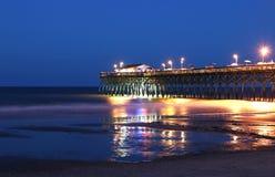 海洋码头在晚上 免版税库存图片