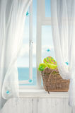 海滩篮子在窗口里 库存照片