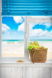 海滩篮子 免版税库存照片