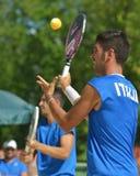 海滩网球世界队冠军2014年 库存照片
