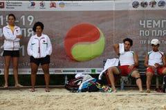 海滩网球世界队冠军2015年 免版税库存照片