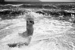 海滩美丽的妇女年轻人 海洋 免版税库存图片