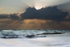 海滩美好的日出 库存图片