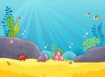 海洋背景 水下的世界的向量例证 免版税库存图片