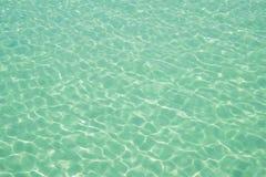 水海洋背景 清楚的蓝色波纹水色纹理 免版税库存图片
