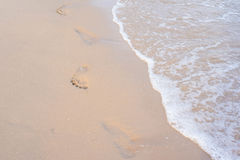 海滩脚印德国海岛sylt 免版税库存照片