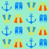 海洋船锚无缝的样式 免版税库存照片