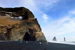海滩黑色冰岛vik 免版税库存图片