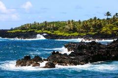 海滩黑色夏威夷毛伊沙子 库存照片