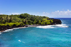 海滩黑色夏威夷毛伊沙子 免版税库存照片