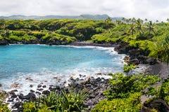 海滩黑色夏威夷毛伊沙子 图库摄影