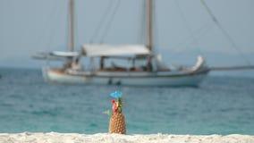 海滩菠萝 免版税库存图片