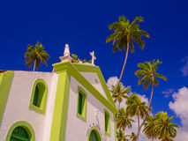 海滩蓝色教会海运天空夏天 库存图片